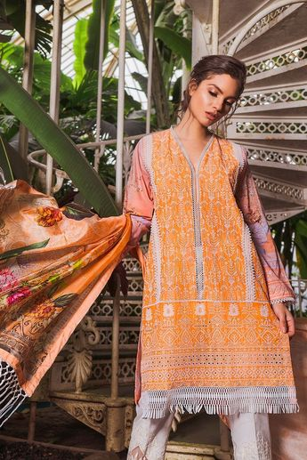 22a84f71a2 ... Elan Lawn Collection 2019 EL-15 A. Embroidered Front Printed Back And  Sleeves Printed Silk Dupatta Embroidered Border Embroidered trouser patch  Plain ...