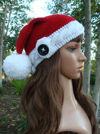 4e72d13ad3823 DIY- Knitting PATTERN  129  Double Pom-pom Cable Band Santa Slouchy Hat