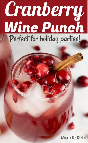Cranberry Wine Punch is a simple large batch cocktail perfect for fall and winter holidays and celebrations.#wine #partydrinks