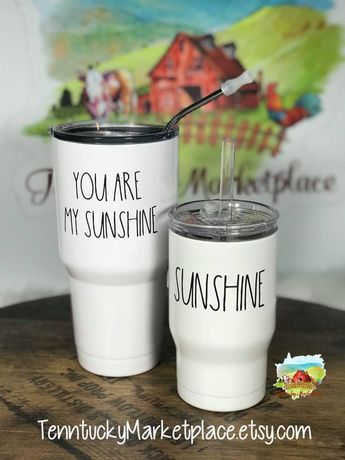 You Are My Sunshine and Sunshine Rae Dunn Inspired MOMMY & ME SET 30oz and 14oz Powder Coated Double Wall Insulated toddler no stickers