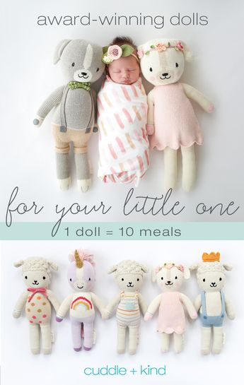 Every cuddle+kind doll is lovingly handcrafted with natural, premium cotton yarn and provides 10 meals to children in need. There are 24 award-winning, fair trade dolls to choose from, each with their own name, birthday, personality and inspirational print. Shop and help feed children in need, 1 doll = 10 meals.