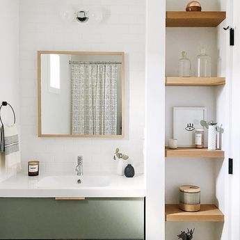 Nature's Palette #schoolhouseliving via @mysimplysimple floating shelves in guest bathroom