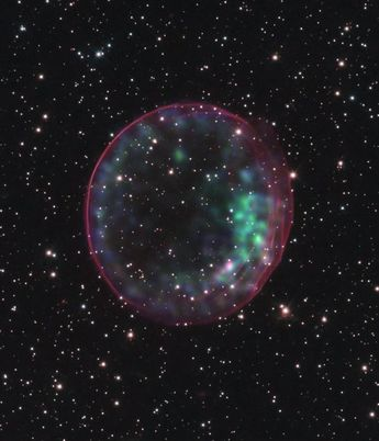 Presented here is an animation of the supernova remnant SNR J0509.5-6731 expanding over time. It appears to be moving at close to 2% of the speed of light. The first frame is from 2006, and the second is from 2016.   #explore #spaceexploration #planet #rockets  #nasa #outerspace #science #learning #education #space #geek #nerd  #rocket  #inspiration #marswalkers