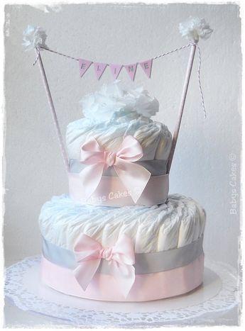 Gâteau de couches Eline cadeau naissance fille