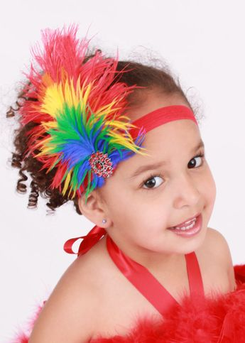READY TO SHIP: Paradise Parrot Stretchy Feather Headband - Rainbow - Scarlett Macaw Bird Costume Accessory - Fits toddler to adult