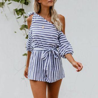 Fashion Casual Off Shoulder Stripe Jumpsuits