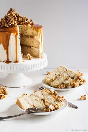 vanilla bean cake with bourbon peaches and spicy bourbon caramel