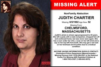 JUDITH CHARTIER, Age Now: 52, Missing: 06/05/1982. Missing From CHELMSFORD, MA. ANYONE HAVING INFORMATION SHOULD CONTACT: Chelmsford Police Department (Massachusetts) - Missing Persons Unit 1-978-256-2521.