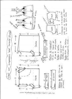 c1f73ca4c1 Short com suspensório para bebê - DIY- marlene mukai - molde infantil