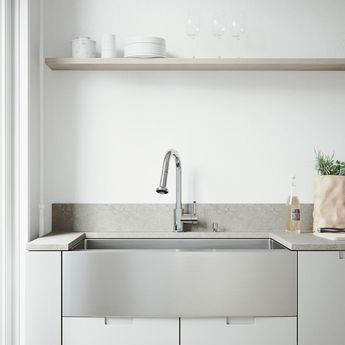 VIGO All-in-One 36 Bedford Stainless Steel Single Bowl Farmhouse Kitchen Sink with Pull Down Faucet in Chrome, Satin