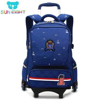 615590c97fc0 SUN EIGHT Wheeled Bag School Bag School Backpack For Girls boy Six Wheels  Trolley School