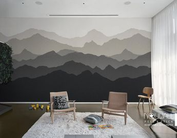 Gradient Mountain Scenery peel and stick Wallpaper, Scandinavian, home decor, wall decor, wall decals, wall sticker, reusable fabric