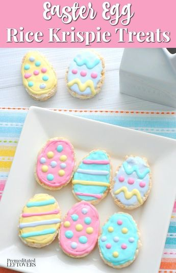 Use egg shaped cookie cutters to turn a batch of Rice Krispie Treats in to Easter Eggs. Use pastel icing to decorate them. Easy no-bake Easter dessert idea. Perfect make-ahead dessert for an Easter party!