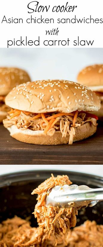 Slow cooker Asian chicken sandwiches with pickled carrot slaw are a little sweet, a little salty, with a fresh, slightly spicy kick from the carrot slaw. #asian #chicken #sandwich