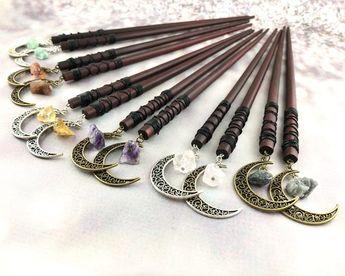 Gemstone Moon Hair Sticks - Moon Hair Fork - Crystal Hair Pins - Wood Hair Sticks