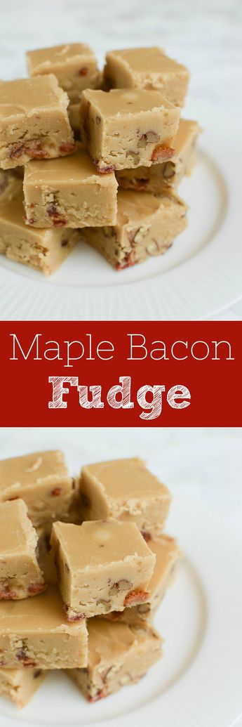 Maple Bacon Fudge - the perfect sweet and salty treat! These are great in Christmas cookie tins and at holiday parties.