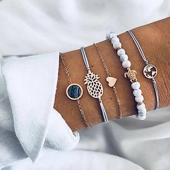 5pcs Women's Layered Beads Chain Bracelet Charm Bracelet Bracelet Bangles - Resin Maps, Turtle, Pineapple Ladies, Unique Design, Boho Bracelet Jewelry Gold For Gift Daily Evening Party Street Going