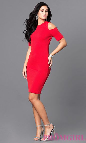 f10128e7bae Short Red Short-Sleeve Holiday Party Dress