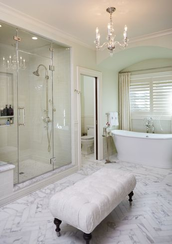 34 Stunning Marble Bathrooms with Silver Fixtures