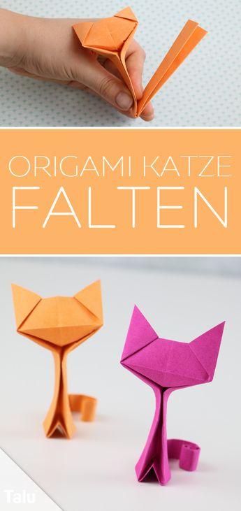 Origami Katze basteln - Anleitung zum Falten aus Papier/Geldschein