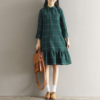 Mori Girl Fashion Japanese Elegant Sweet Preppy Style Plaid Loose Falbala Dress