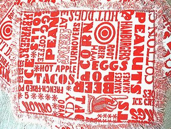 Vintage 70s Food Typography Cloth Napkins
