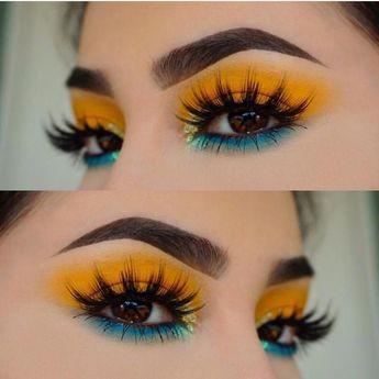 Tropical makeup, blue and yellow eyeshadow #bluegorgeousmakeup #eyeshadowart