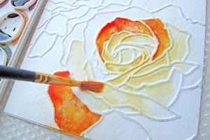 get watercolor paper. Then sketch your drawing,outline your sketch in Elmers glue then paint it with water colors
