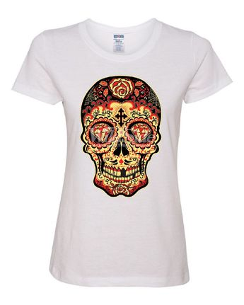 f303c3a13 Day of The Dead Sugar Skull Women's T-Shirt Gold Calavera Dia de Muertos Tee