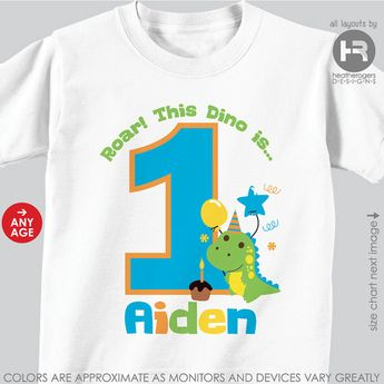 Dinosaur First Birthday Shirt Or Bodysuit O Personalized 1st TShirt With Childs Name