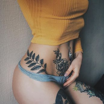 Attractive lower stomach tattoos for girls