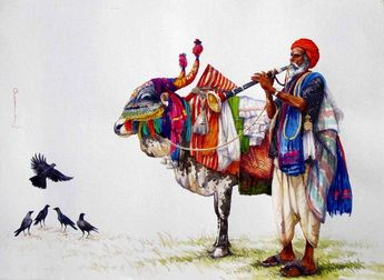 Indian Painting by Siva Balan | HD Art Print on Canvas ...