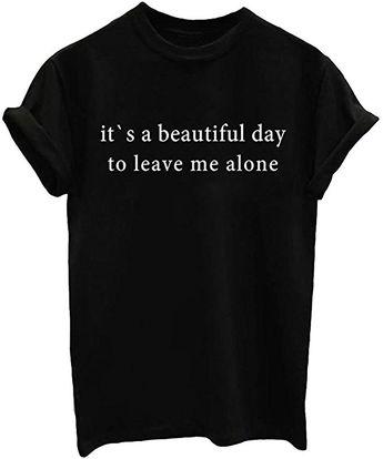 Amazon.com: YITAN Summer Women T shirt Graphic Funny Tees Fashionable Tops Black Medium: Clothing