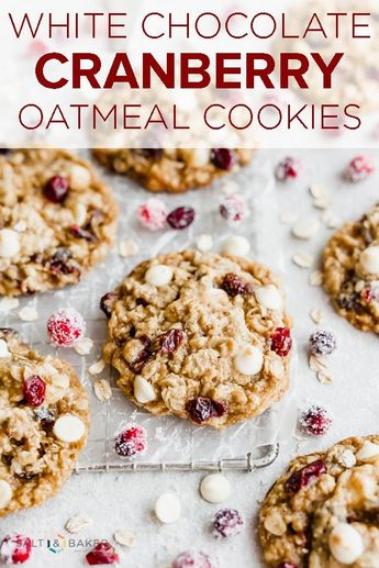 White Chocolate Cranberry Oatmeal Cookies are a festive and delicious holiday cookie! This thick and chewy oatmeal cookie is packed with white chocolate chips and dried cranberries, perfect for Christmas or New Years treats. #saltandbaker #holidaycookie #cookierecipe via @saltandbaker