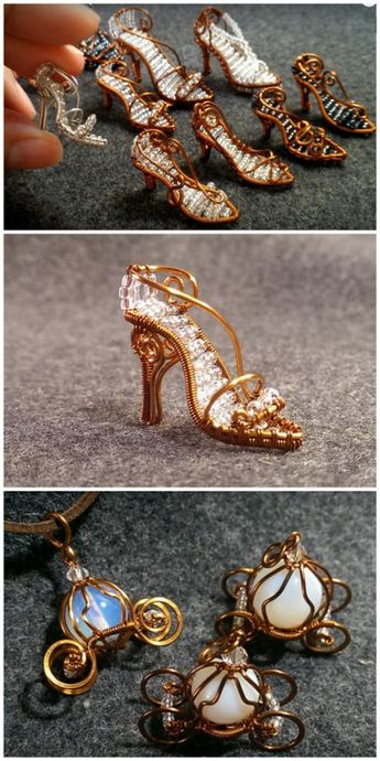 DIY Mini Wire Wrapped Cinderella Glass Slippers and Pumpkin Coach   The Cinderella shoes are for those with advanced wire wrapping skills; the pumkin coach is much easier to make.   I've posted a lot of wire work DIYs - you can see hundreds of them here.   This post is based on a post I saw at Beading Gem here- a blog I read all the time.   DIY Mini Wire Wrapped Shoes by YouTube User  Lan Anhhere.       DIY Mini Wire Wrapped Pumpkin Coach by YouTube User Lan Anh here.     If you are new t...