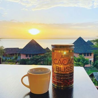 """Shout out to @monkeytine for sharing her photo of Cacao Bliss while her travel in #kenya!  She shares, """"My favorite drink in my favorite country""""   Thanks for sharing, @monkeytine!  #cacao #rawcacao #cacaobliss #iriseorganics #healthyfood #cacaoceremony #bringthebliss #lucuma #mesquite #decadent"""