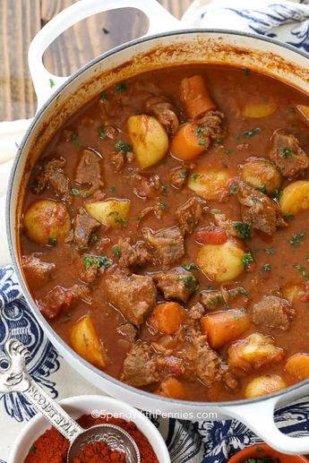 Hungarian goulash is my favorite way to stay warm! It is a staple in our family, and homemade goulash could not be more comforting as the sun turns to snow!