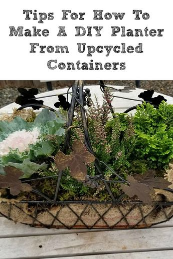 These Tips For How To Make A DIY Planter From Upcycled Containers are perfect for making gifts or home decor! DIY Succulent Planters are so easy to make! #thriftstore #planter #Succulents