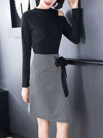 8286177da68f4 ファッション通販 #Fashion Doresuwe丸ネック個性長袖ブラウス非対称優雅スカートレディースファッション