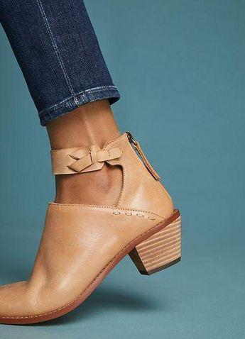 Chunky Heel Booties Zipper Women Shoes