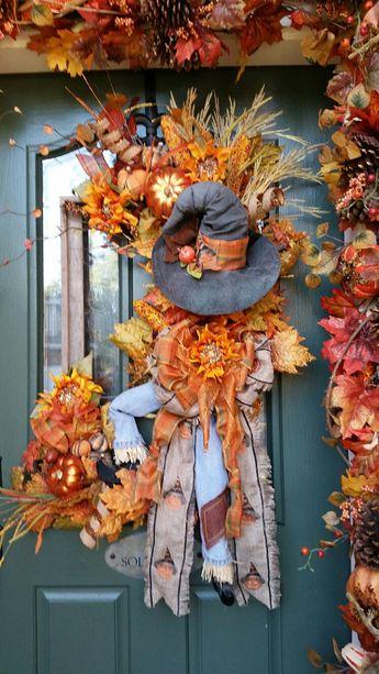 Fall Wreath, Halloween Wreath, Fall & Halloween, Scarecrow Wreath, Scarecrow, Evil Pumpkin, Fall Leaf Wreath, Pumpkin Wreath, Square Wreath