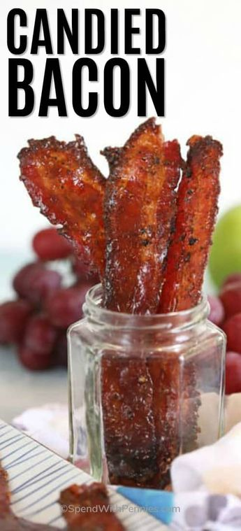 This easy candied bacon recipe is a sweet and savory treat. Made with just 3 ingredients it is quick to prepare and makes for a great appetizer, snack, or even breakfast side! #spendwithpennies #candiedbacon #baconrecipe #ovenbaked #appetizer #breakfast #dessert