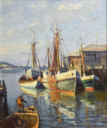 flickr pix of emile gruppe paintings   Emile Gruppe - Harbor Scene