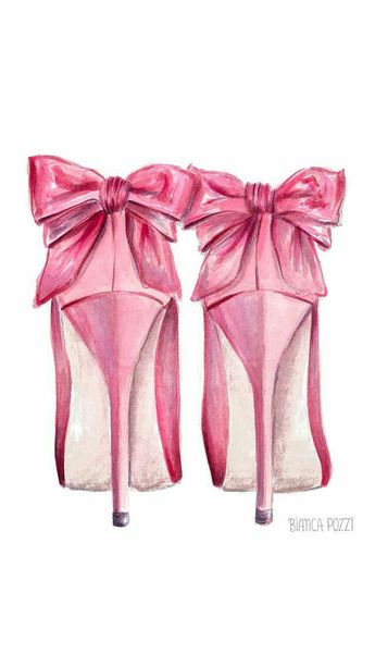Pretty drawing of pink pumps with bow accent - Carmela Ci