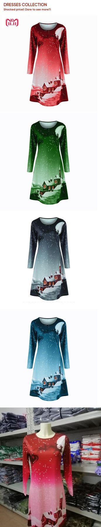 Print Christmas Dress Women Full Sleeve Winter Party Desses Short Mini  Straight Dress Robe Femme 2018 2dd8eff4b3c3