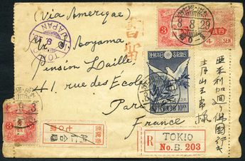 Japan 1919 (29 Aug.) A cover from Japan reg. to Paris, France, bearing Tazawa 3 sen x 2, 4 sen & 1919 Restoration of WWI Peace 10 sec, tied by Japanese cds with 2 different reg. labels alongside. 'TOKYO/16.9.19' transit and 'PARIS/10.10.19' arrival cds. Photo HK$ 500 - 600