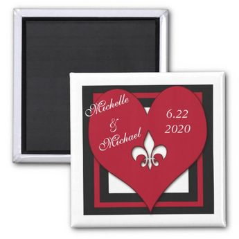 Purple Round Fleur De Lis Heart Save The Date Invitation