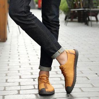 Spring Summer Slip-on Microfiber Leather Flat Shoes – menstache Store