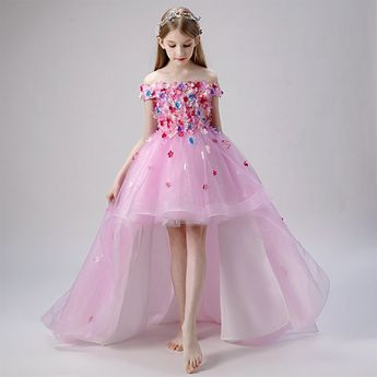 Flower Fairy Blushing Pink Flower Girl Dresses 2019 Ball Gown Off-The-Shoulder Short Sleeve Appliques Flower Pearl Glitter Tulle Asymmetrical Ruffle Backless Wedding Party Dresses