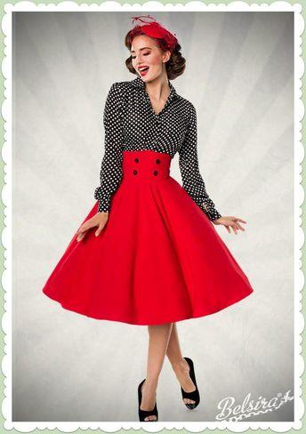b6e39c07e481dd Belsira 50er Jahre Retro Rockabilly Tellerrock - High Waist - Uni Rot  #vintageFashion1950spinup